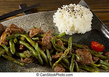 dish of Japanese cuisine meat, rice and vegetables