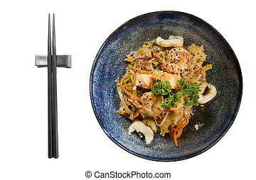 dish of Japanese cuisine seafood, buckwheat noodles and ...
