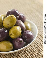 Dish of marinated Olives