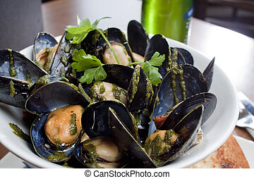 Dish of Mussels - A restaurant style plating of mussels ...