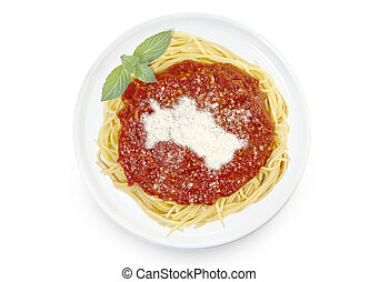 Dish of pasta with tomato sauce and parmesan cheese in the shape of Turkmenistan .(series)