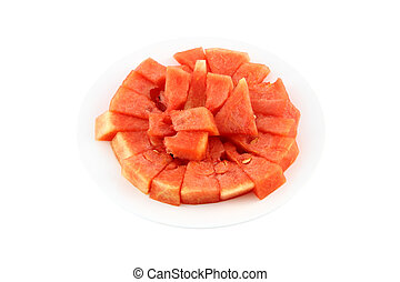 Dish of red watermelon on white background