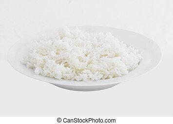 Dish of Rice on White Background