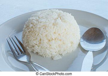 thai food - Dish of thai food ; plane steamed rice.