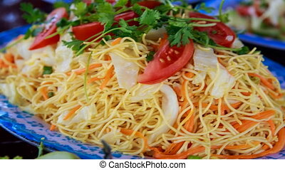dish of vietnamese vermicelli set with vegetables