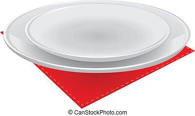 Dish on a napkin