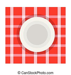 Dish on a tableclothe