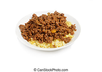 Dish on the plate - Close-up of dish with fried mince and ...