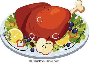 dish., pavo, vegetales, vector, asado, manzanas, jamón