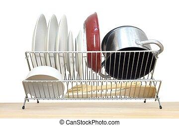 A close up shot of a dish rack