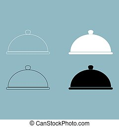 Dish the black and white color icon .