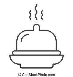 Dish thin line icon. Tray vector illustration isolated on white. Hotel breakfast outline style design, designed for web and app. Eps 10.