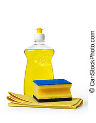 dish washing detergent, sponge an cloth over white background