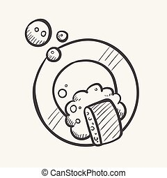 Dish washing hand drawn sketch icon.