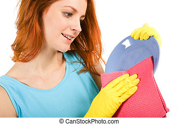 Dish washing - Portrait of young female holding plate and...