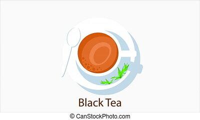 Dish with black tea, art video illustration.