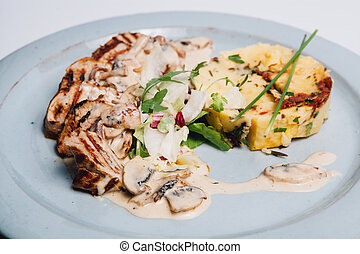 grilled chicken with potatoes