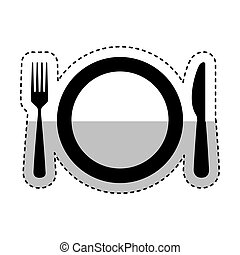 dish with kitchen cutlery isolated icon