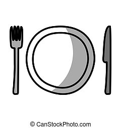 dish with knife and fork kitchen cutlery isolated icon
