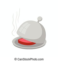 Dish with lid icon, cartoon style