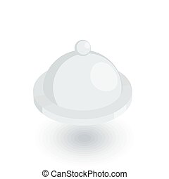 Dish with lid isometric flat icon. 3d vector