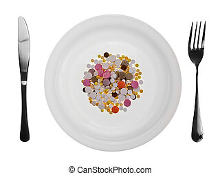 Dish with pills - Diner plate with pills fork and knife on...