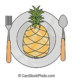 dish with pineapple fresh fruit healthy