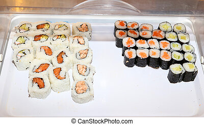 dish with sushi in the oriental restaurant
