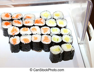 dish with sushi in the restaurant