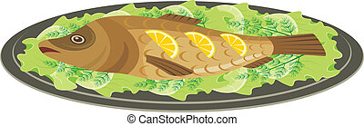 Dish with the baked fish - Vector illustration. It is ...