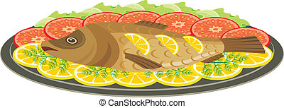 Dish with the baked fish