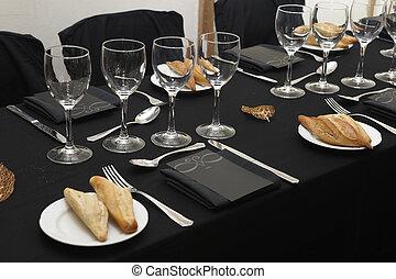 dishes., テーブルクロス, 黒, ガラス