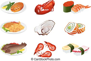 dishes., fish, vettore, set, icona