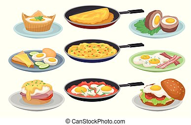 Dishes from eggs set, fresh nutritious breakfast food, design element for menu, cafe, restaurant vector Illustrations on a white background