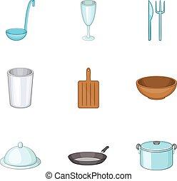 Dishes icons set, cartoon style