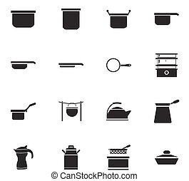 Dishes icons set