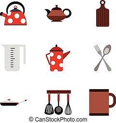 Dishes icons set, flat style