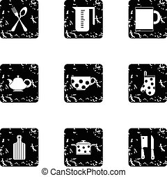 Dishes icons set, grunge style