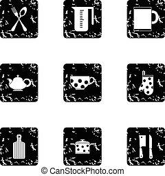 Dishes icons set, grunge style