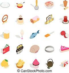 Dishes icons set, isometric style