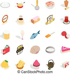 Dishes icons set, isometric style