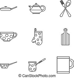 Dishes icons set, outline style
