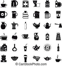 Dishes icons set, simple style