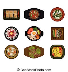 Dishes in Plates Top View. Vector Illustration Collection