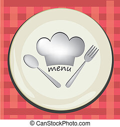 dishes menu - a white dish with a white hat and white...