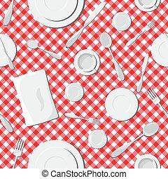 Dishes seamless pattern