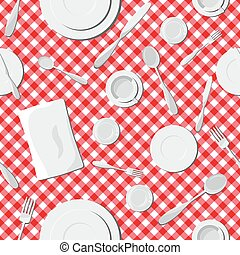 Dishes seamless pattern