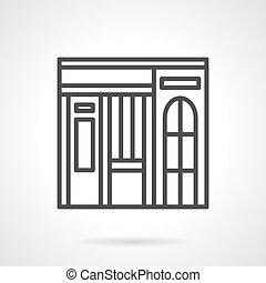 Dishes shop facade simple line vector icon