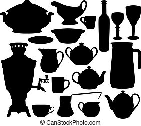 Black dishes silhouettes set isolated on white