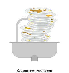 dishes., tableware., illustration, malpropre, vecteur, sale, évier